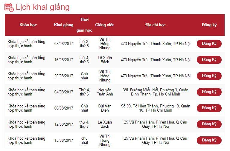 lịch khai giảng kế toán lê ánh tháng 8