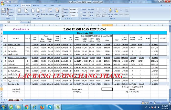 Hướng dẫn chi tiết cách lập bảng lương hàng tháng