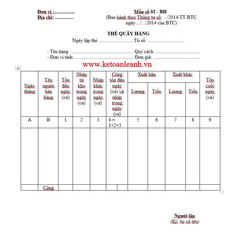 Thẻ quầy hàng  Mẫu số 02 – BH theo Thông tư 200/2014/TT-BTC