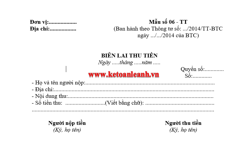 Mẫu Biên lai thu tiền Mẫu số 06 – TT theo Thông tư 200/2014/TT-BTC