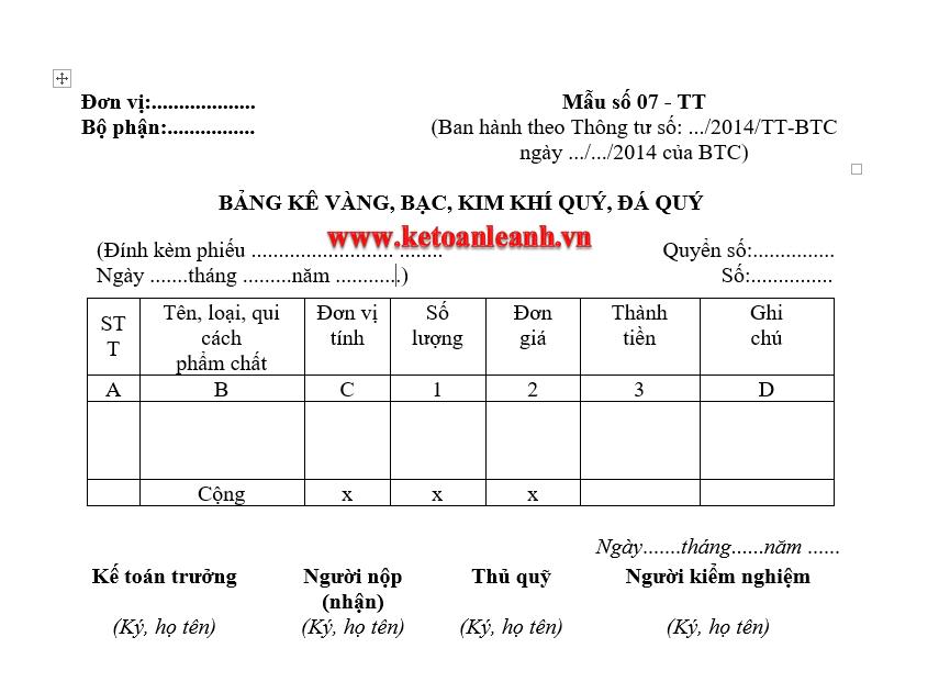 Mẫu Bảng kê vàng, tiền tệ  Mẫu số 07 – TT theo Thông tư 200/2014/TT-BTC