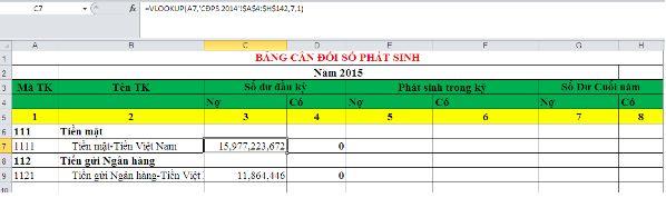Hướng dẫn lập bảng Cân đối số phát sinh trên Excel