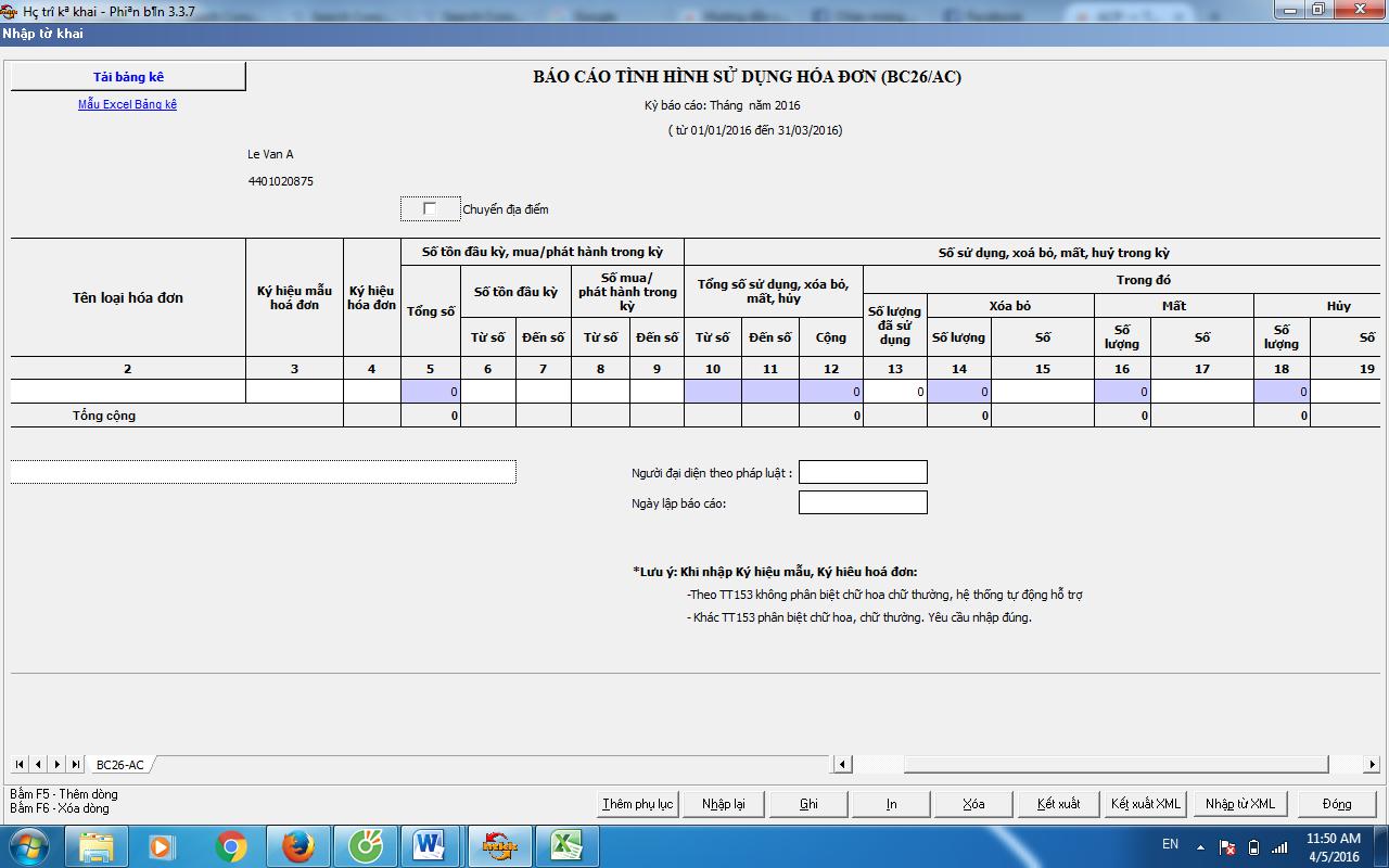 Hướng dẫn chi tiết cách lập báo cáo tình hình sử dụng hóa đơn theo Mẫu BC26/AC trên HTKK