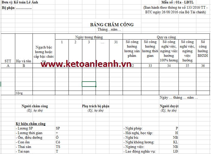 Mẫu bảng chấm công theo Thông tư 133/2016/TT-BTC