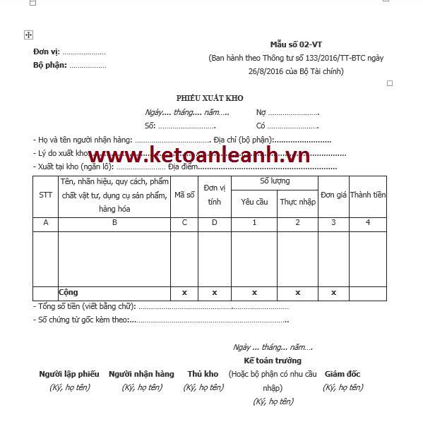 Phiếu xuất kho theo Thông tư 133/2016/TT-BTC