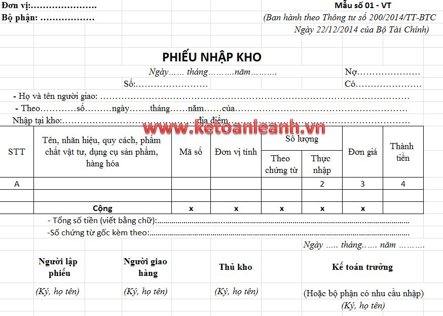Mẫu phiếu nhập kho theo Thông tư 200/2014/TT-BTC