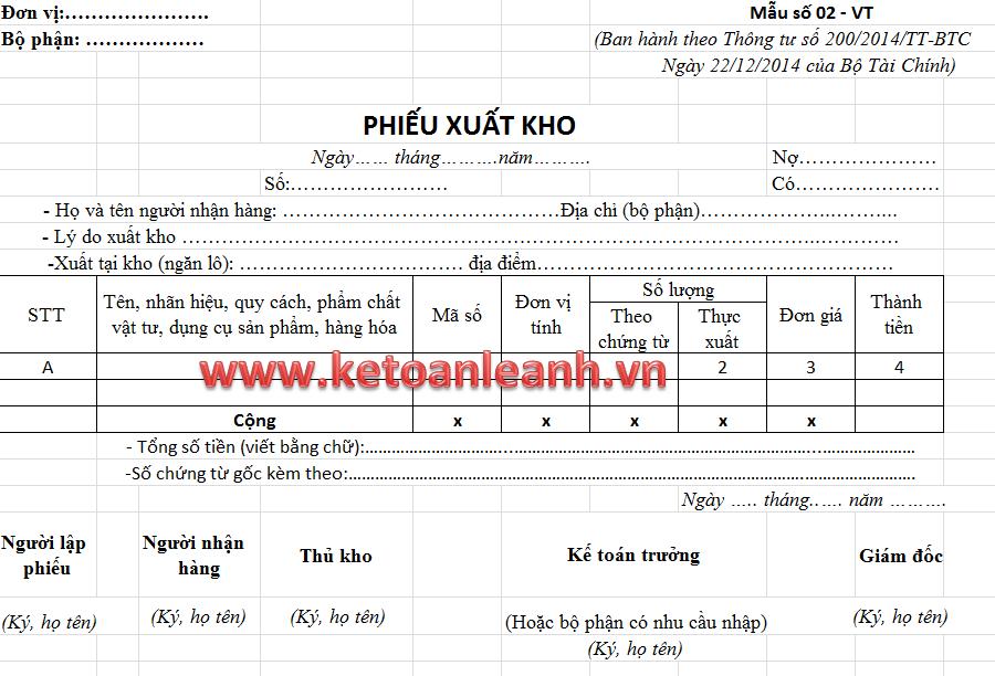 Mẫu Phiếu xuất kho theo Thông tư 200/2014/TT-BTC