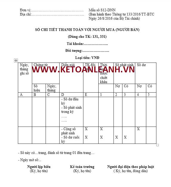 Mẫu sổ chi tiết thanh toán với người mua (người bán) theo Thông tư 133/2016/TT-BTC