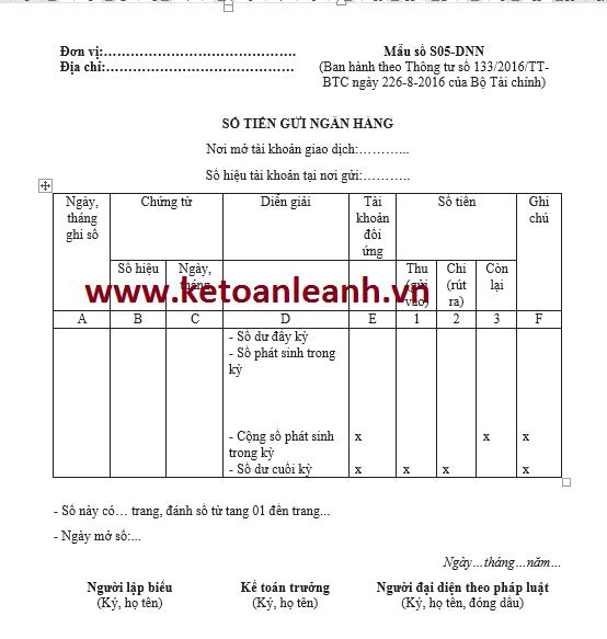 Mẫu sổ tiền gửi ngân hàng theo Thông tư 133/2016/TT-BTC