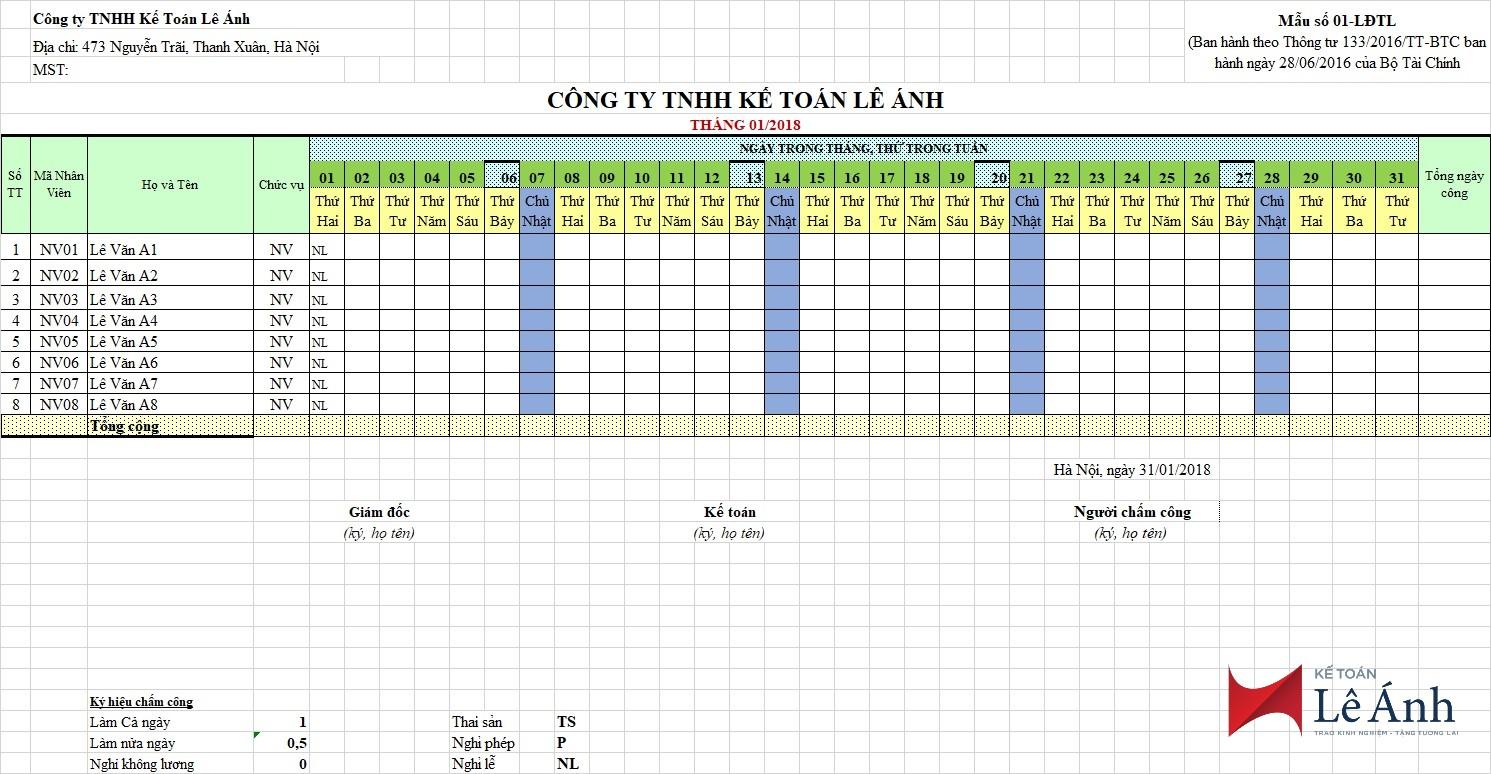 Bảng chấm công mới nhất trên Excel