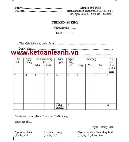 Mẫu thẻ kho theo Thông tư 133/2016