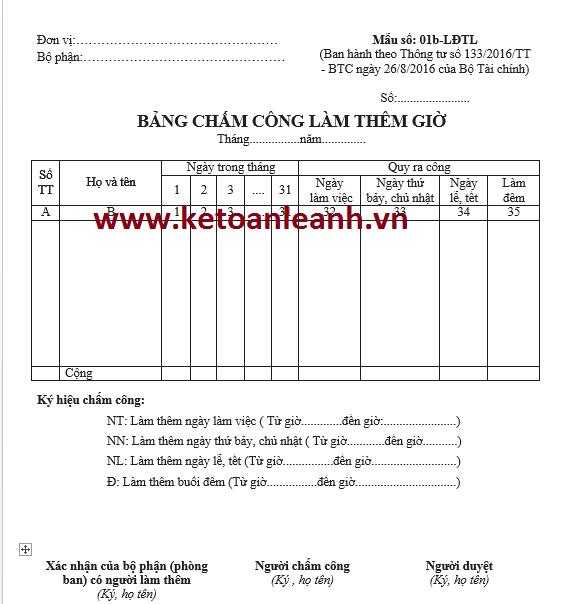 Mẫu bảng chấm công làm thêm giờ theo Thông tư 133/2016/TT-BTC
