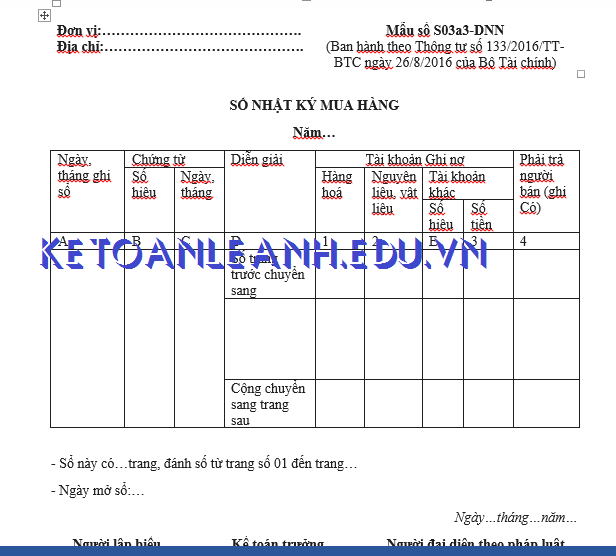 Mẫu sổ nhật ký mua hàng theo Thông tư 133/2016/TT-BTC