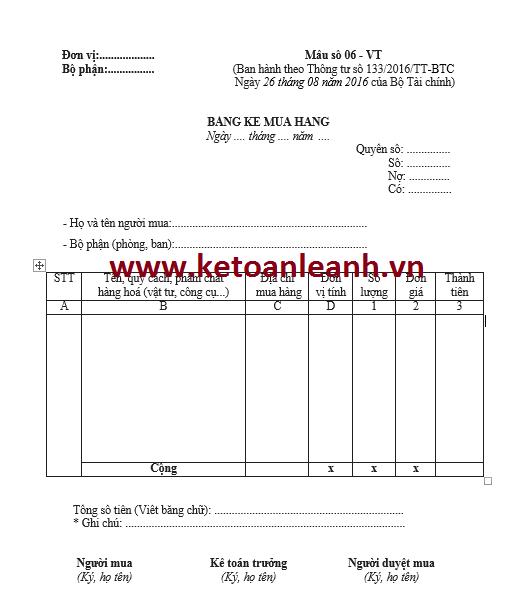 Bảng kê mua hàng theo Thông tư 133/2016/TT-BTC