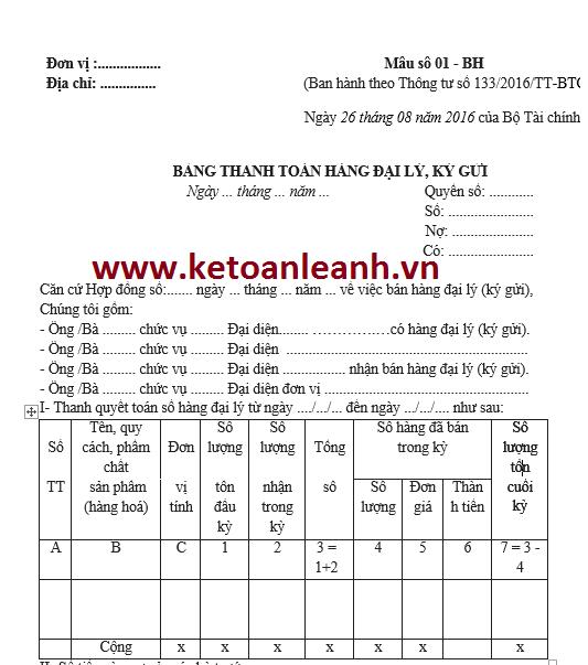 Bảng thanh toán hàng đại lý, ký gửi theo Thông tư 133/2016/TT-BTC