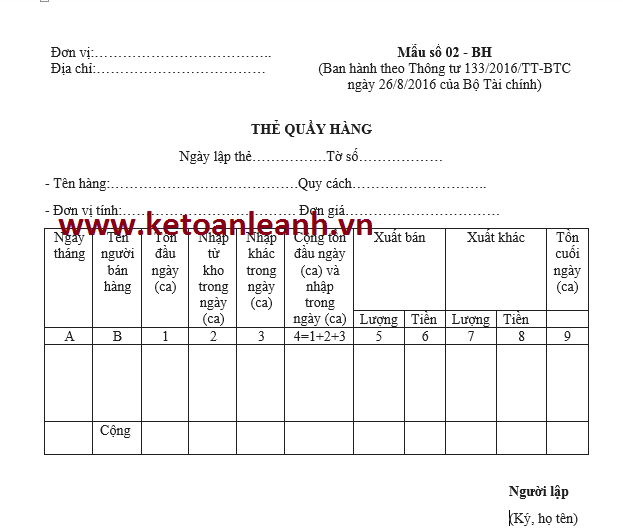 Mẫu thẻ quầy hàng theo Thông tư 133/2016/TT-BTC