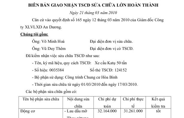 Biên bản bàn giao TSCĐ sửa chữa lớn hoàn thành – mẫu số 03/BTC /TT-TSCD