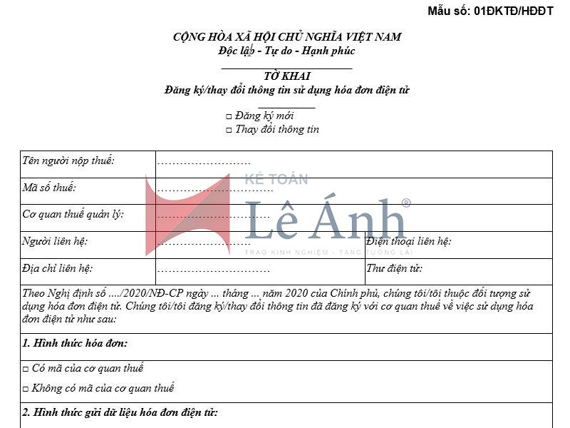 Hướng dẫn viết Mẫu số 01 – Tờ khai đăng ký sử dụng hóa đơn điện tử có mã của cơ quan Thuế
